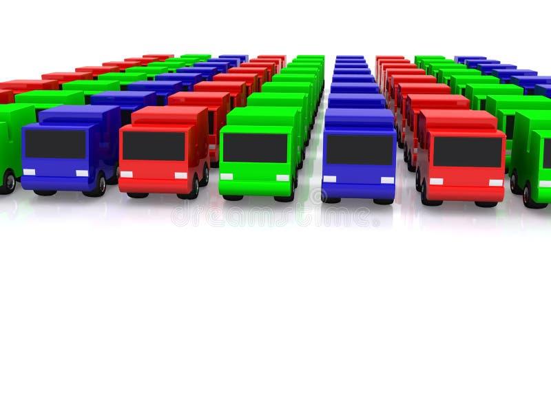 Download Row of RGB cars. 3D stock illustration. Illustration of imitation - 9458337