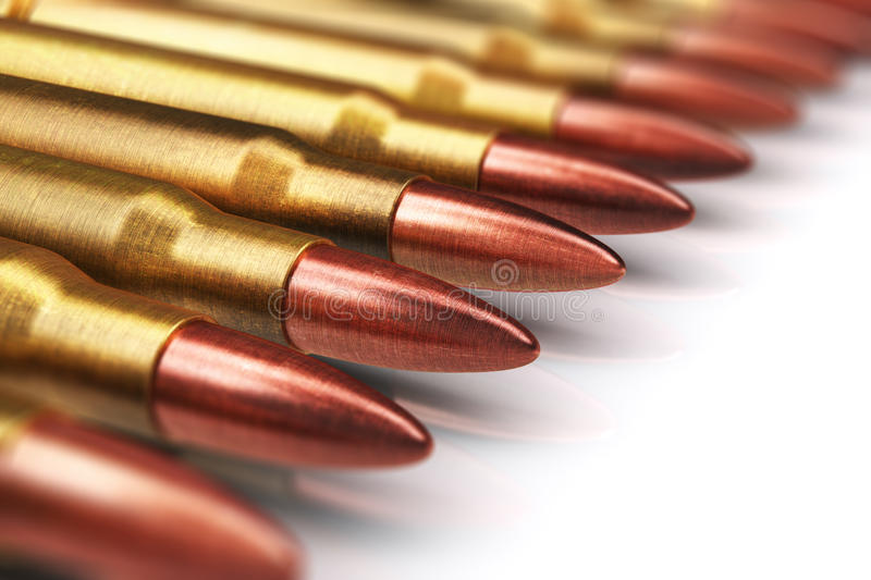 Row of rifle gun bullets. Creative abstract war and automatic machine gun shooting or firing military ammo concept: 3D render illustration of macro view of the vector illustration
