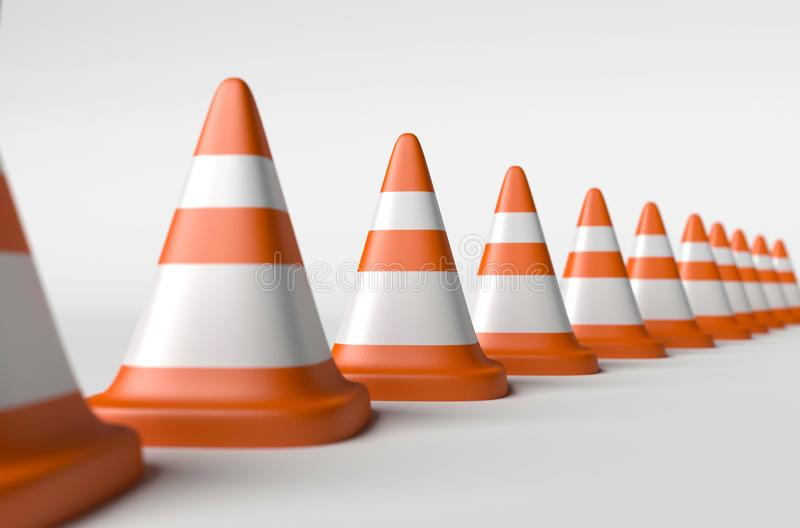Row of road cones on a white background, depth of field. Concept of limitations. Row of road cones on a white background, depth of field. 3d render road cones vector illustration