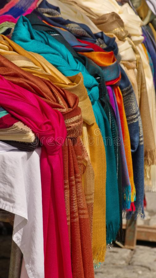 Row of scarves stock photo