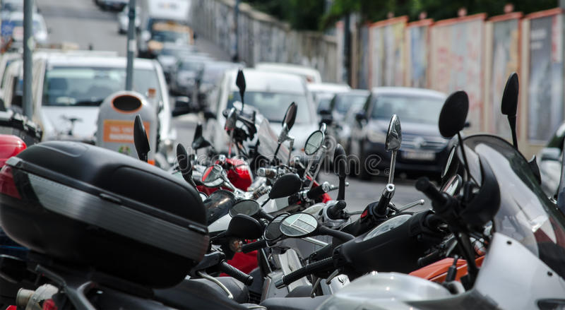 Row of scooters royalty free stock image