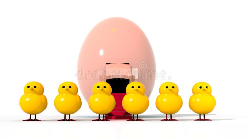 Six Featherless Easter Chicks with a Spaceship Egg in the Background stock illustration