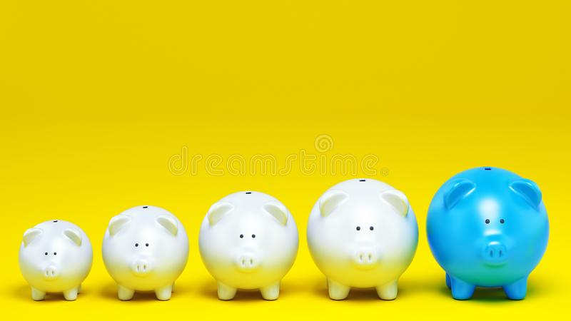 Economic concept of increased savings with a row of piggy banks on yellow background. 3D Rendering royalty free illustration