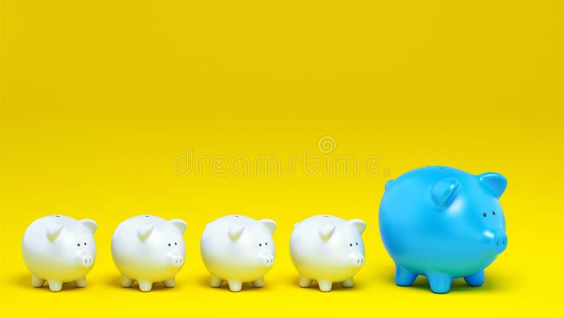 Economic concept of increased savings with a row of piggy banks on yellow background. 3D Rendering. Row of small piggy banks next to a large one. 3D Rendering vector illustration