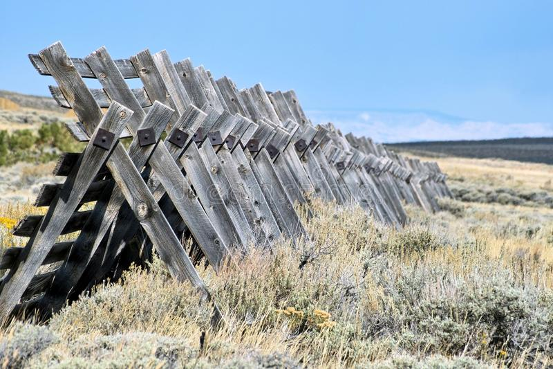 Row of Snow Fence stock photo
