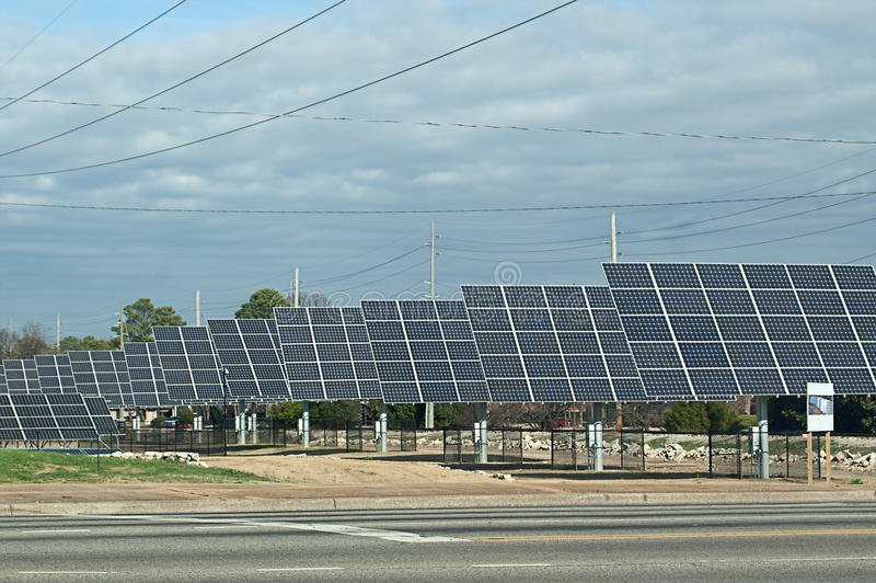 Row Of Solar Energy Panels Stock Photography