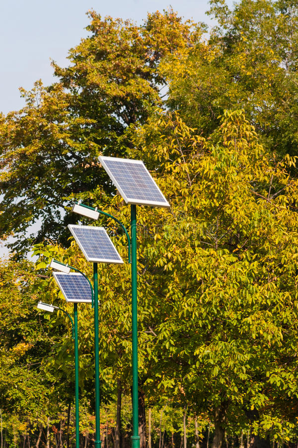 Download Row Of Solar Powered Street Illuminators In The Park With Trees Stock Image - Image: 47595673