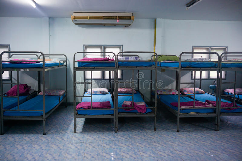 A row soldier bunk beds. stock image