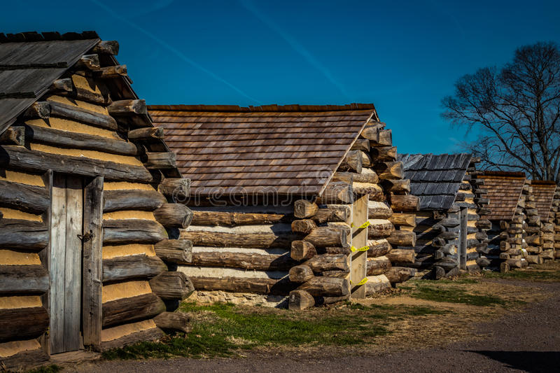 Row of Soldiers Cabins at Valley Forge PA USA. Row of reproduction rustic cabins used by Revolutionary War soldiers under the command of General Washington royalty free stock images