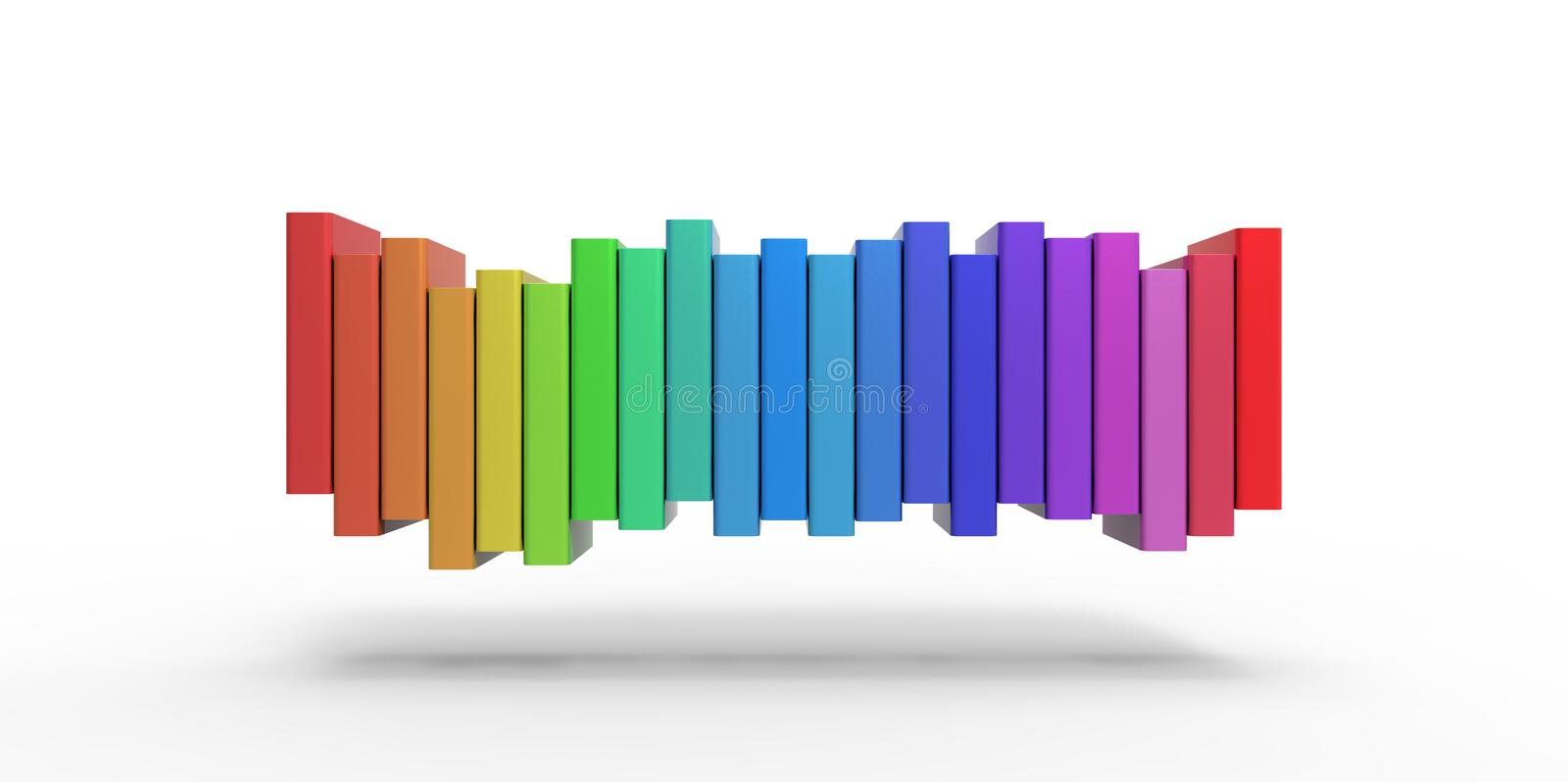 Row stack of colorful books on a plain background vector illustration