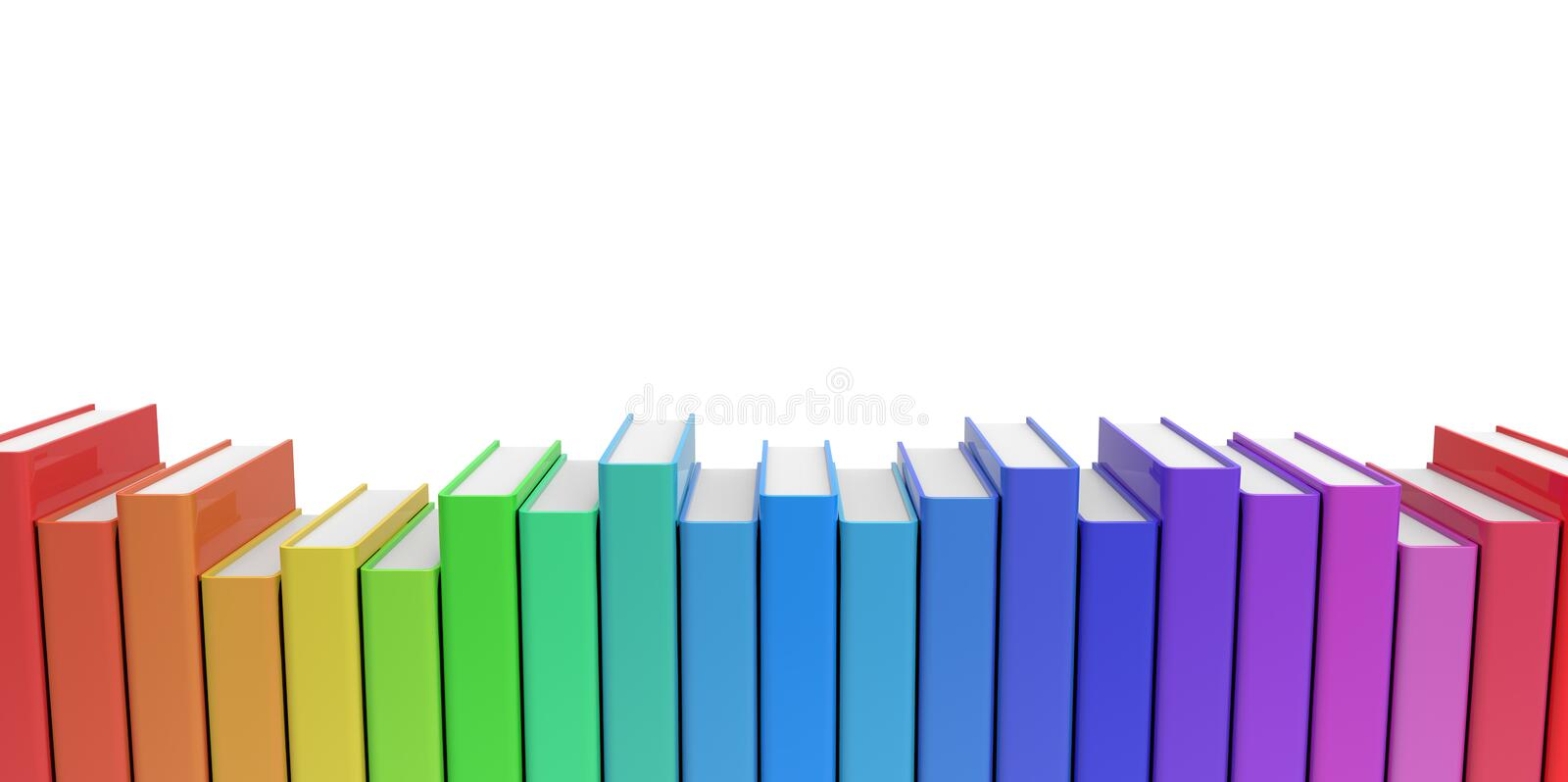 Row Stack Of Colorful Books On A Plain Background Stock Illustration ...