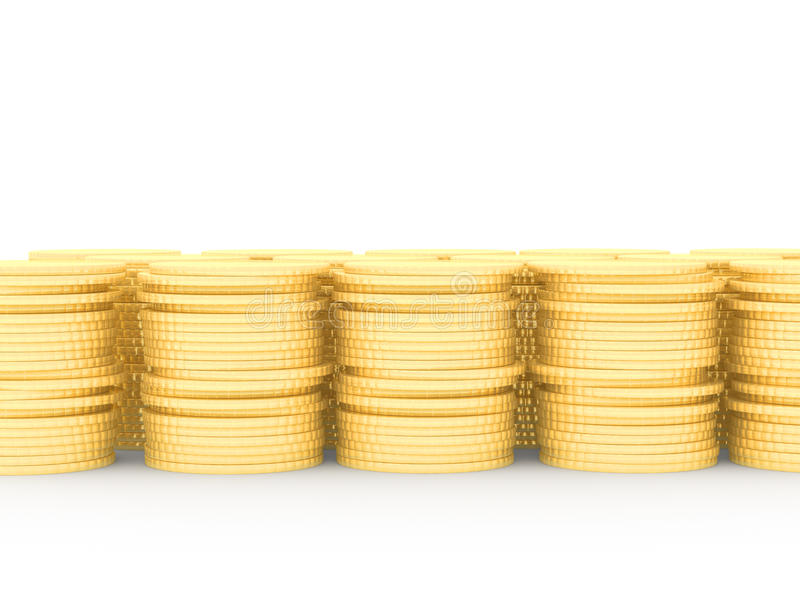 A row of stacked gold coins stock illustration