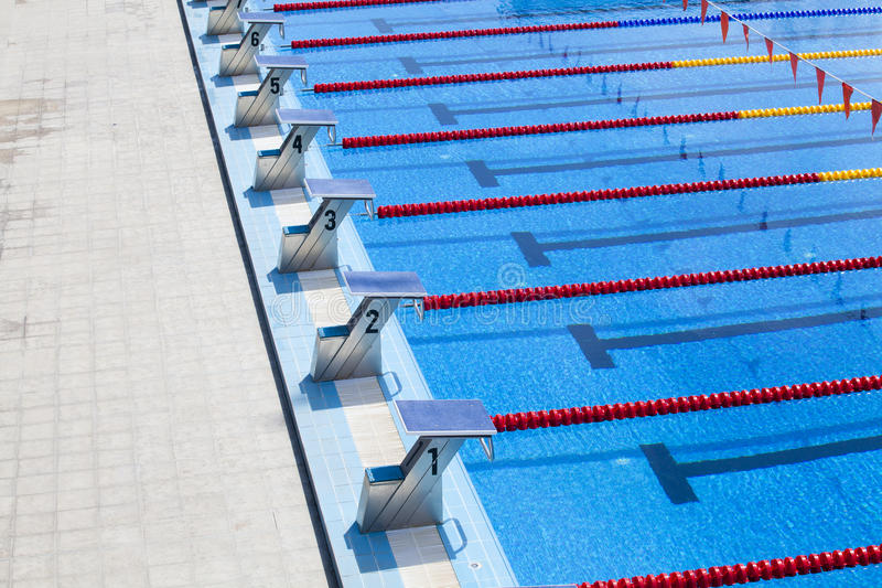 download the row of starting blocks of a swimming pool stock images image 36362374