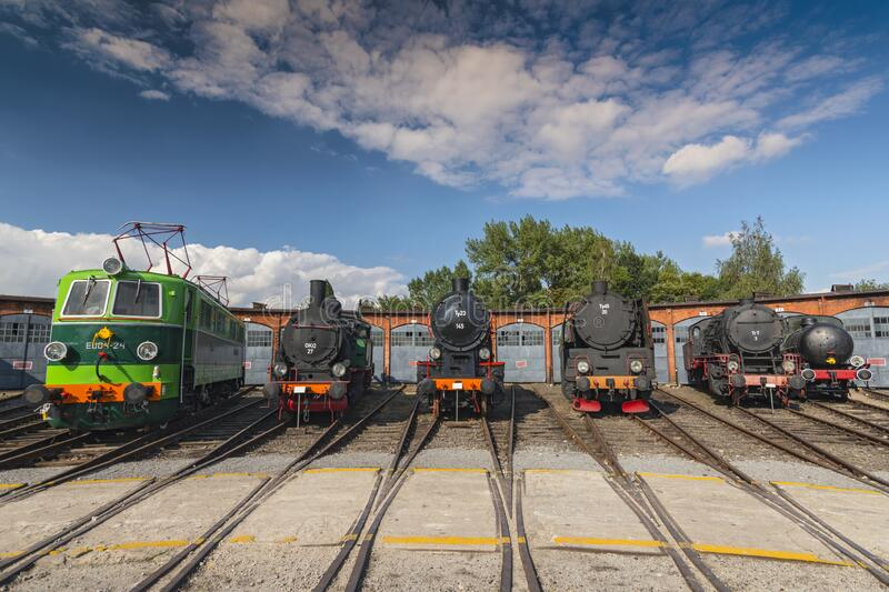 Row of steam locomotives in Jaworzyna Slaska Railway Museum, Silesia Poland stock image