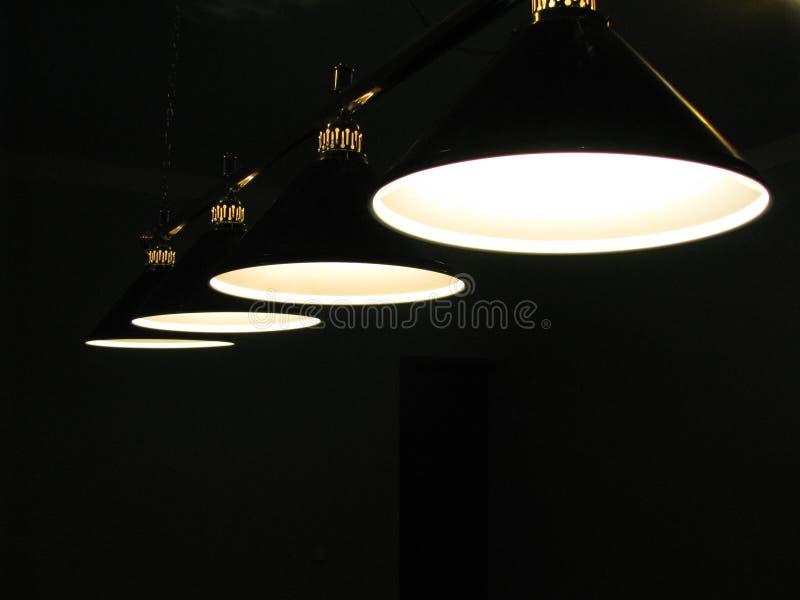 Row suspended illumination lamps. stock photos