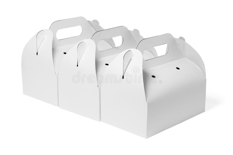 Takeaway Cake Boxes. Row of Takeaway Cake Boxes on White Background royalty free stock images
