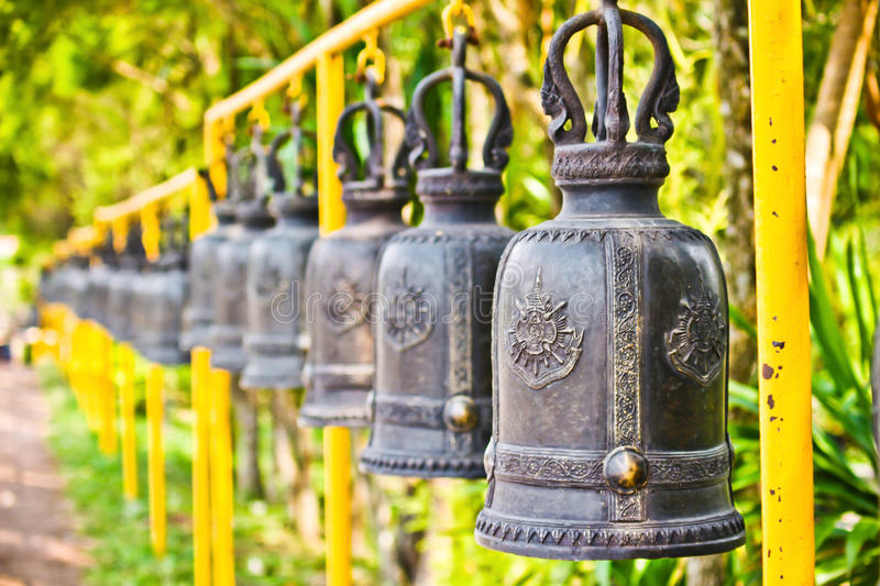 Row of Thai Bells. Thai Bells at Kanjanapisek Pagoda stock photos