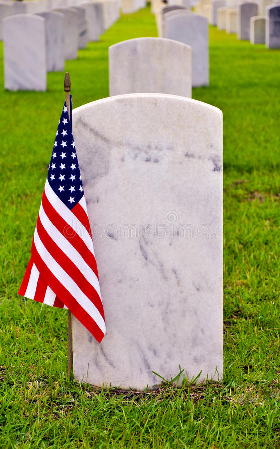 Download Row Of Tombstones With American Flag Stock Image - Image: 26530897