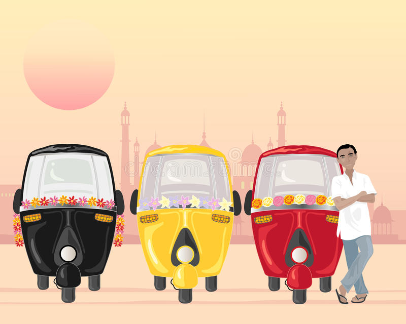 Row of tuk tuks. An illustration of a row of parked auto rickshaws in different colors with an asian taxi driver in an urban setting vector illustration