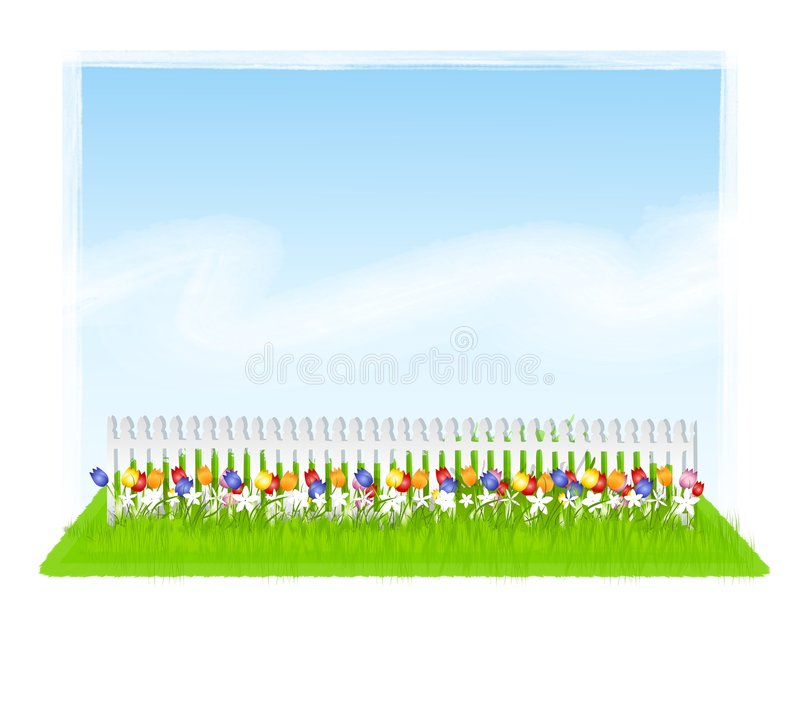 Row of Tulips Sky White Fence vector illustration