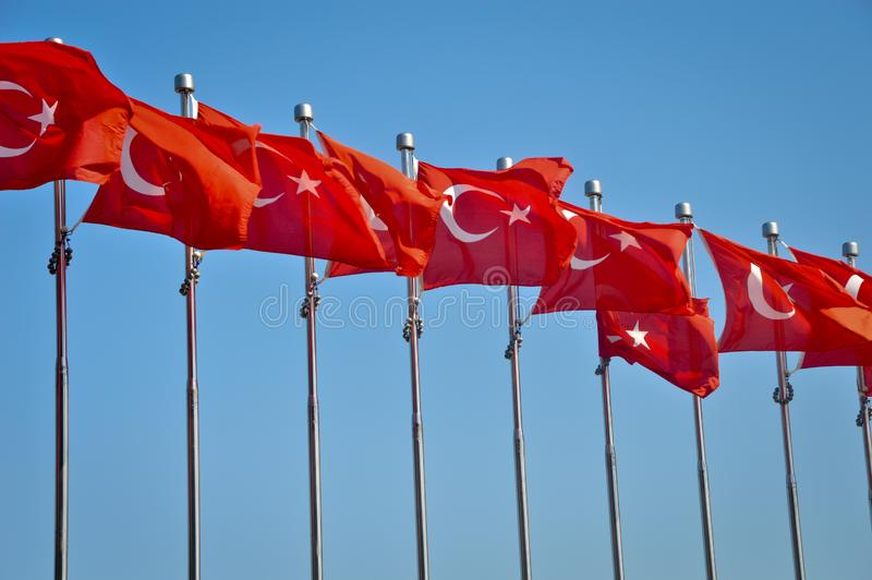 Row of Turkish flags. Ve blue sky. Canakkale Dardanelles royalty free stock image