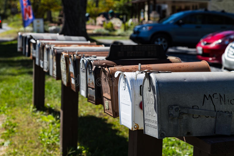 Row of US Mailboxes royalty free stock image