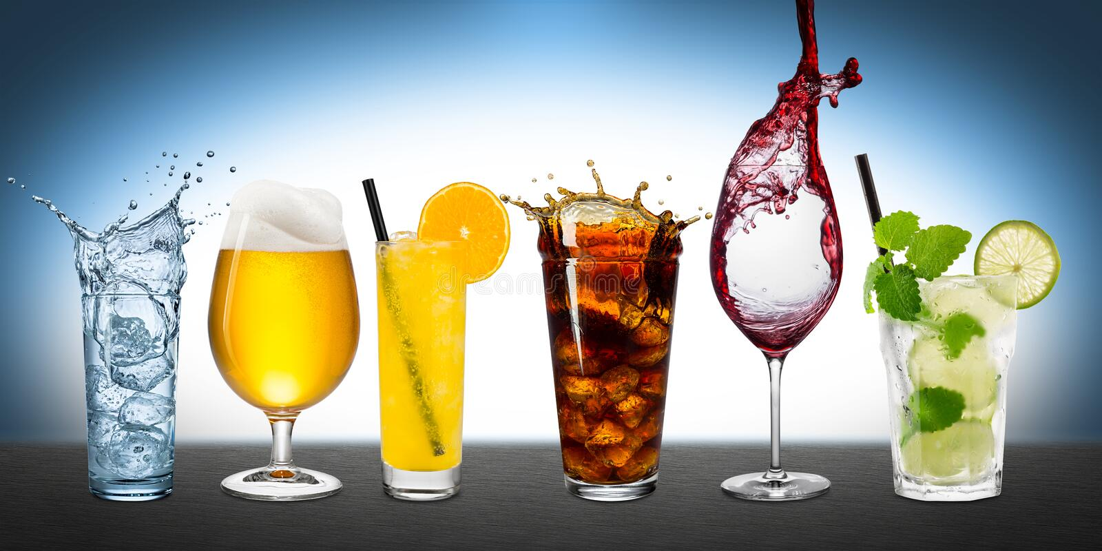 Row of various beverages stock photography