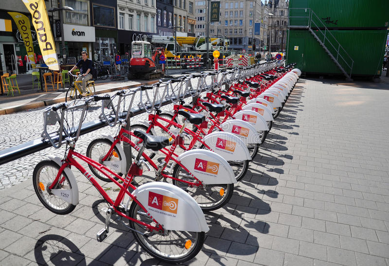 A row of Velo bicycles for hire in the city of Antwerp. Belgium royalty free stock images