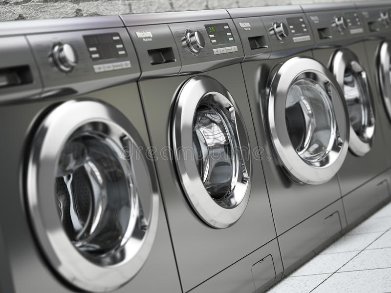 Row of washing machines in a public laundromat. royalty free illustration