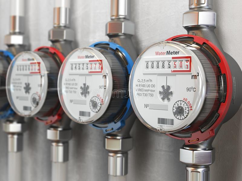 Row of water meters of cold and hot water on the wall background royalty free illustration