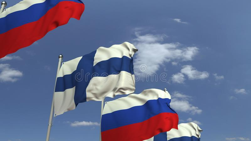 Row of waving flags of Finland and Russia, 3D rendering. Waving flags of countries against sky, 3D royalty free illustration