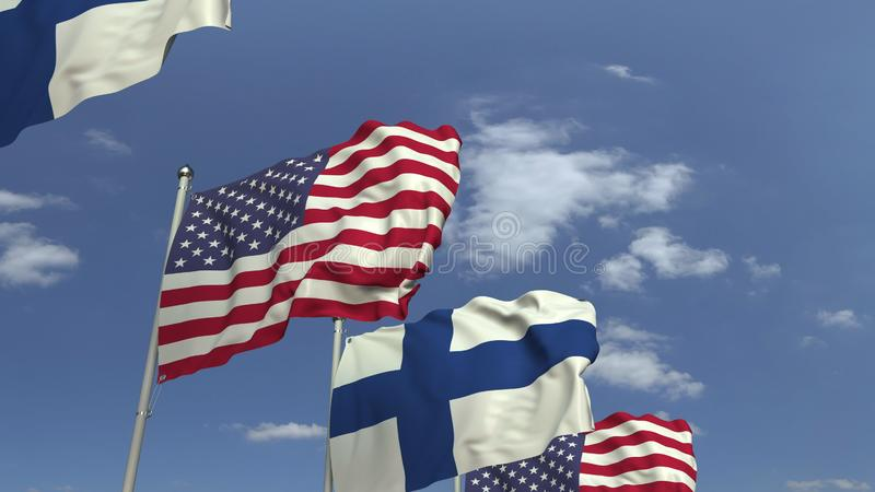 Row of waving flags of Finland and the USA, 3D rendering. Waving flags of countries against sky, 3D royalty free illustration