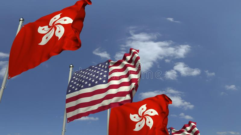 Row of waving flags of Hong Kong and the USA, 3D rendering. Waving flags of countries against sky, 3D vector illustration