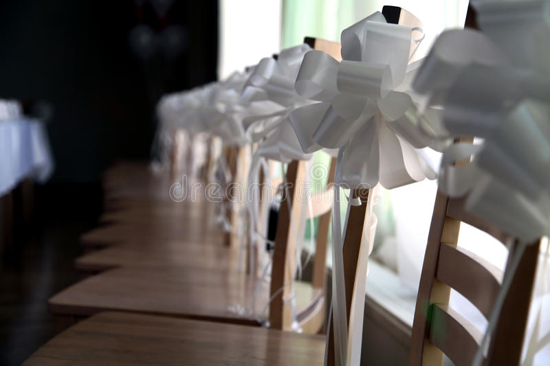 Row of wedding chairs stock photography