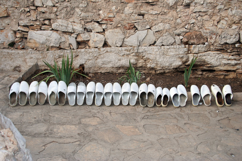 Download Row Of White Wooden Clogs Stock Images - Image: 191524