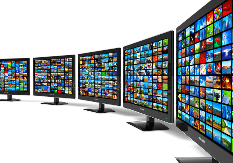 Row of widescreen HD displays wtih multiple images royalty free illustration