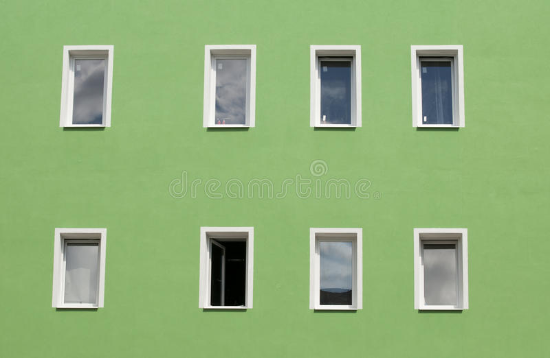 Download Row Of Windows On Green Wall Stock Images - Image: 15051244