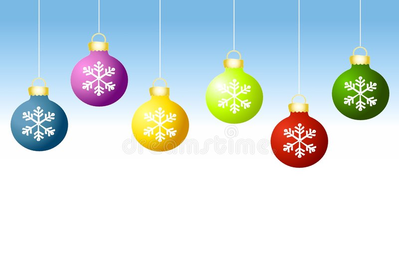 Row of Xmas Ornaments. A background illustration featuring a row of simple ornaments hanging against a gradient blue background royalty free illustration
