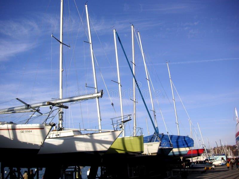 Row Yachts 库存图片