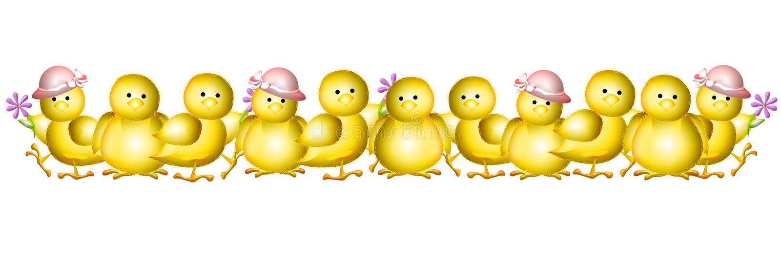 Row of Yellow Baby Easter Chicks Border. An illustration featuring a row of adorable little baby yellow chicks wearing hats and holding flowers for use as royalty free illustration