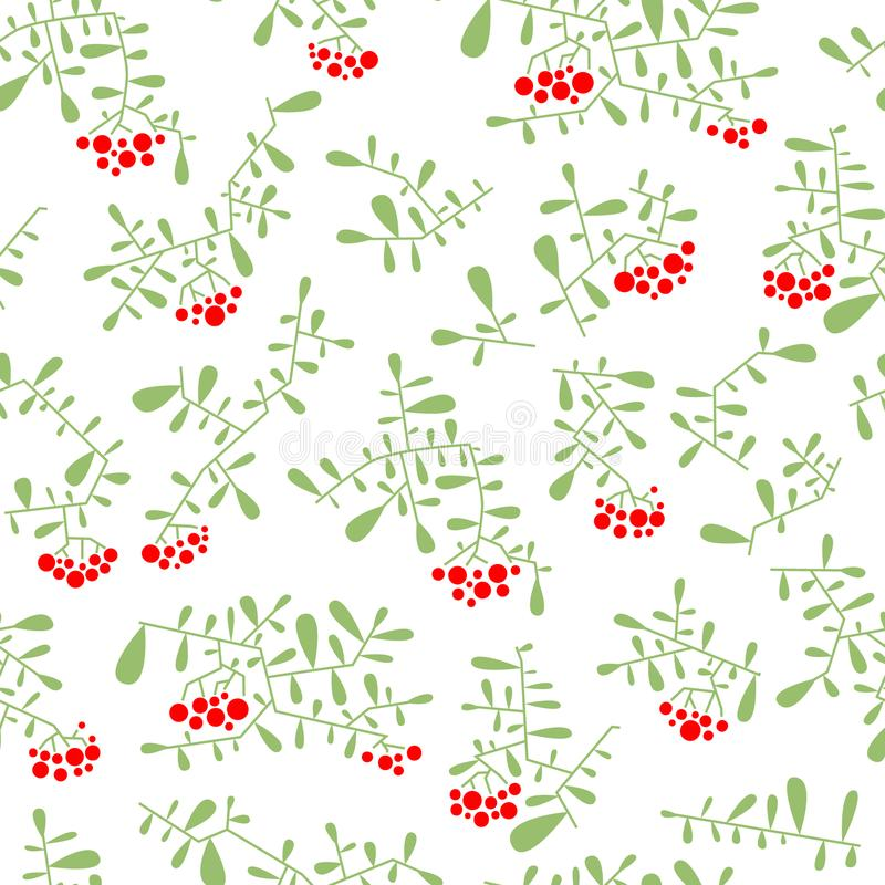 Download Rowan Berry Seamless Pattern In Flat Simple Style. Doodle Floral Stock Vector - Image: 104761633