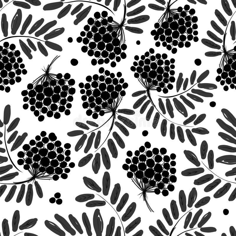 Rowan gałąź z jagodami, bezszwowy wzór dla ilustracja wektor