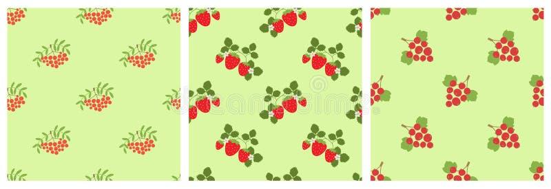 Rowan, halny popiół, viburnum, truskawka i czerwony rodzynek, setu deseniowy bezszwowy wektor Wektorowe jagody Naturalny moda dru ilustracja wektor