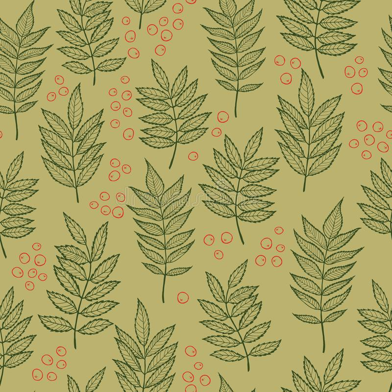 Rowan leaves. Hand drawn Vector seamless pattern. Rowan leaves. Vector seamless pattern. Hand drawn. For covers, printing on fabric, wedding or celebration royalty free illustration