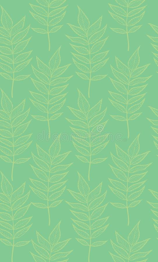 Rowan leaves. Vector seamless pattern. Hand drawn. For covers, printing on fabric, wedding or celebration invitations, cards, social media, blog posts stock illustration