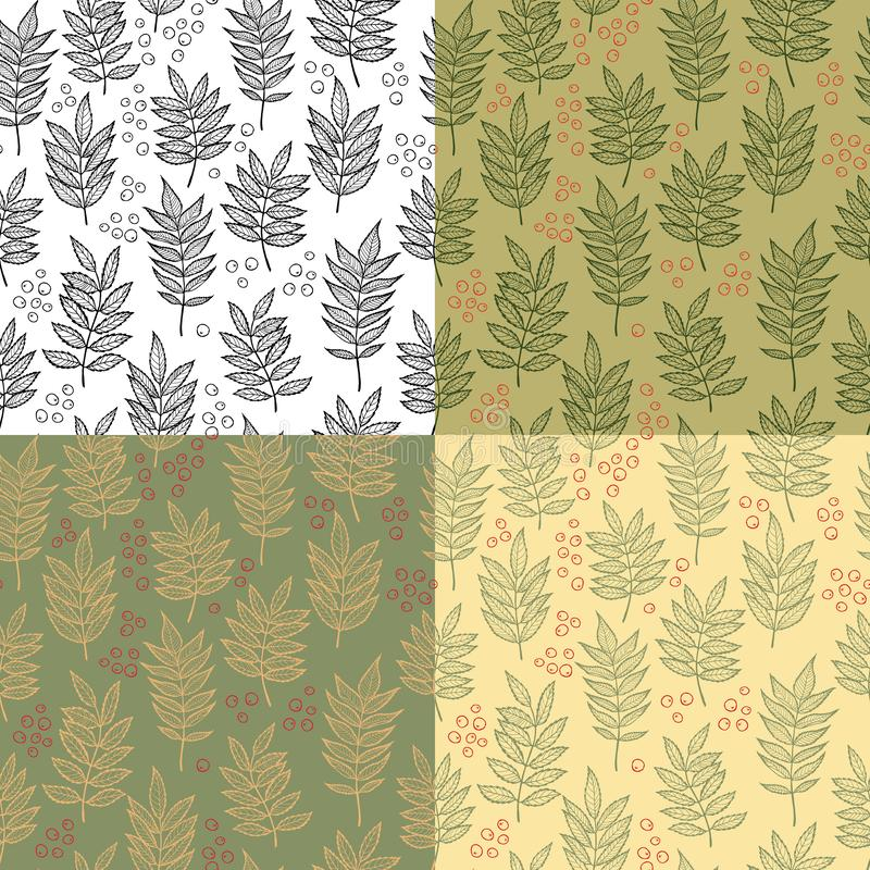Rowan leaves. Vector seamless pattern. Hand drawn. For covers, printing on fabric, wedding or celebration invitations, cards, social media, blog posts vector illustration