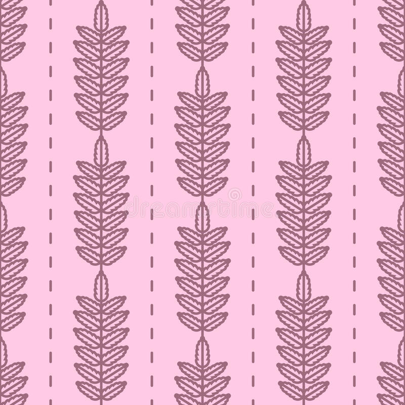 Rowan tree leaves seamless vector pattern. Vintage style and colors (purple). vector illustration