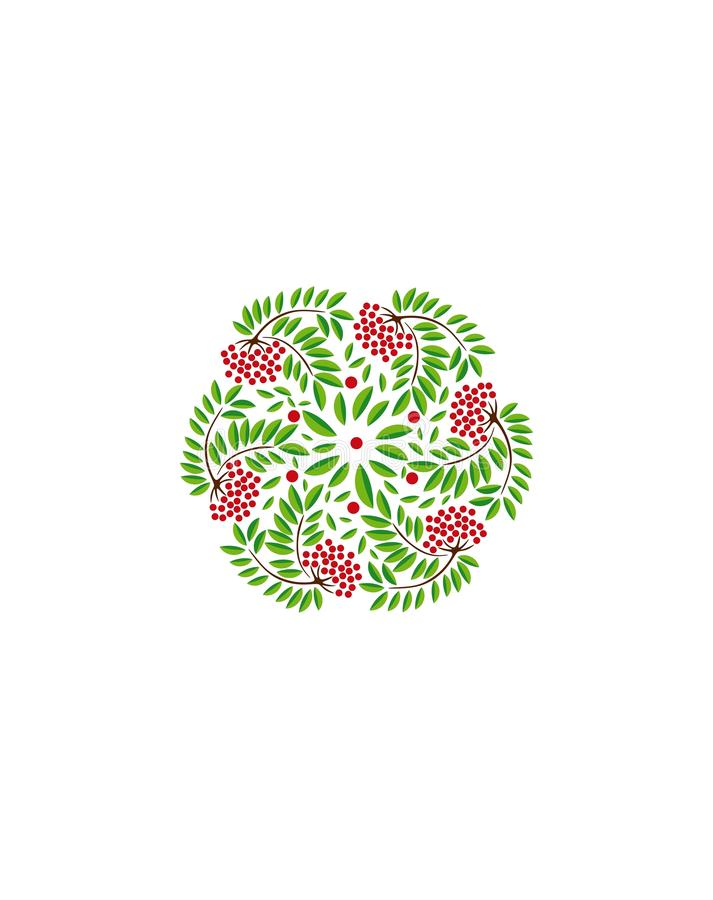 Rowan vector wreath .Wreath of rowan branches background. stock illustration