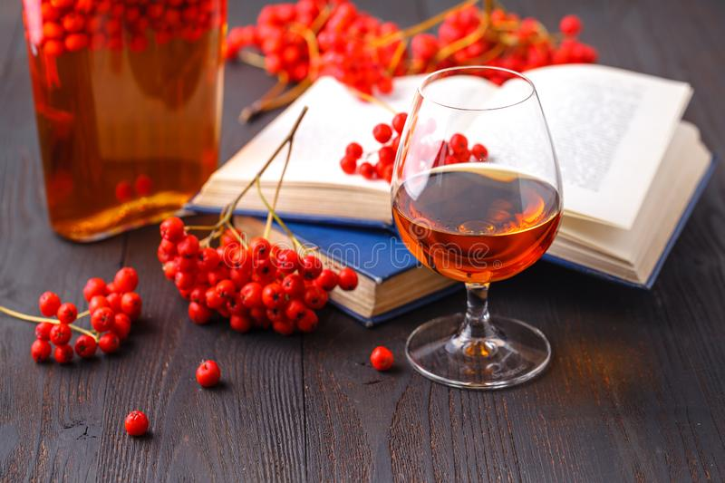 Rowanberry natural tincture for winter, with ashberry fruits royalty free stock photography