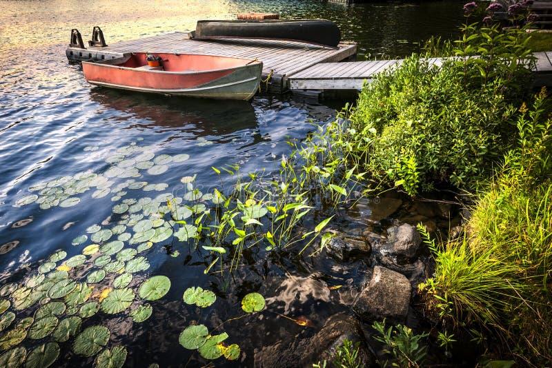 Rowboat на береге озера на сумраке стоковое изображение rf